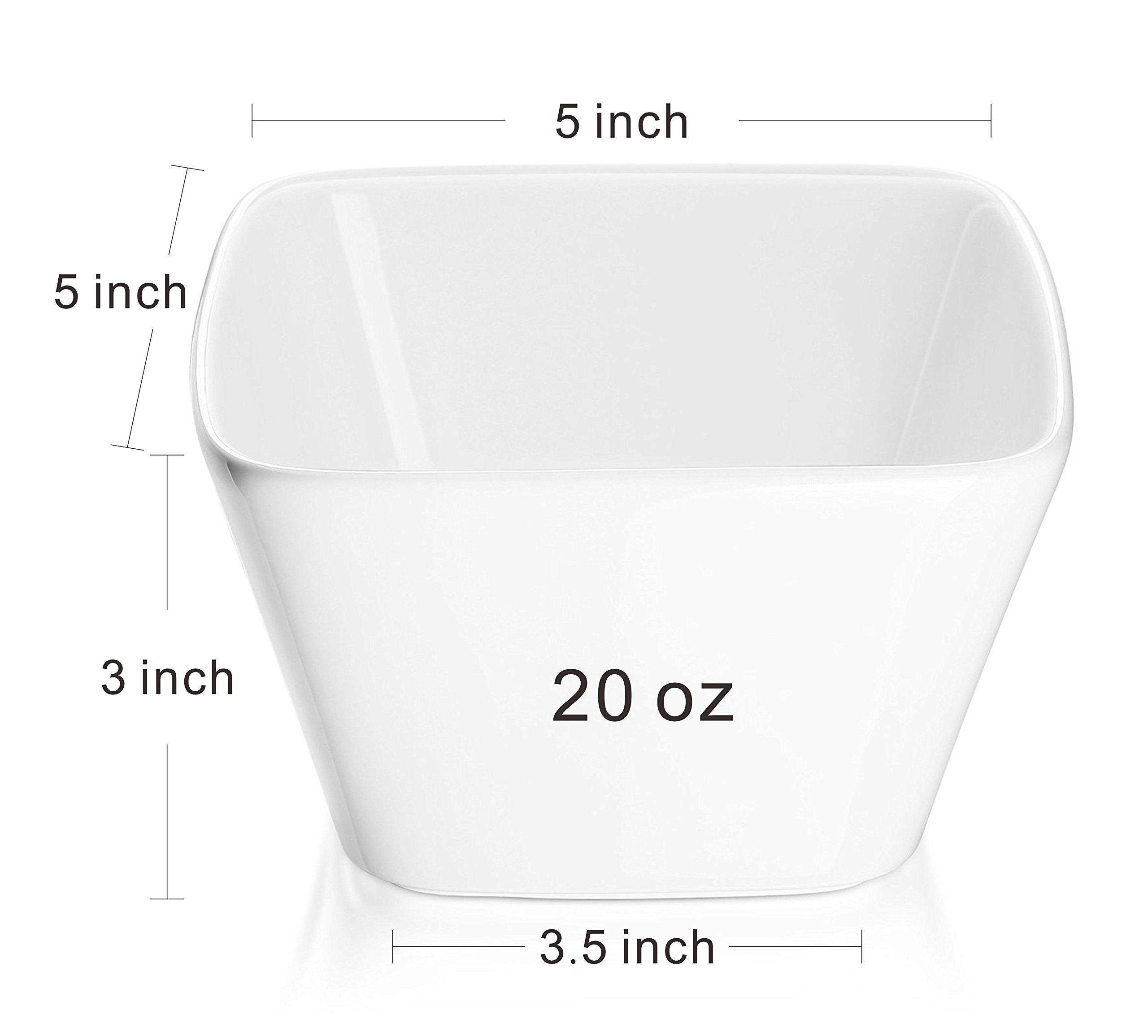 DOWAN 20 Ounce Porcelain Square Cereal Bowls - 6 Packs ,White by DOWAN (Image #3)