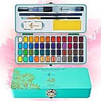 Artistro Aquarelverfset, 48 levendige kleuren in draagbare doos, inclusief metalen en fluorescerende kleuren. Perfecte…