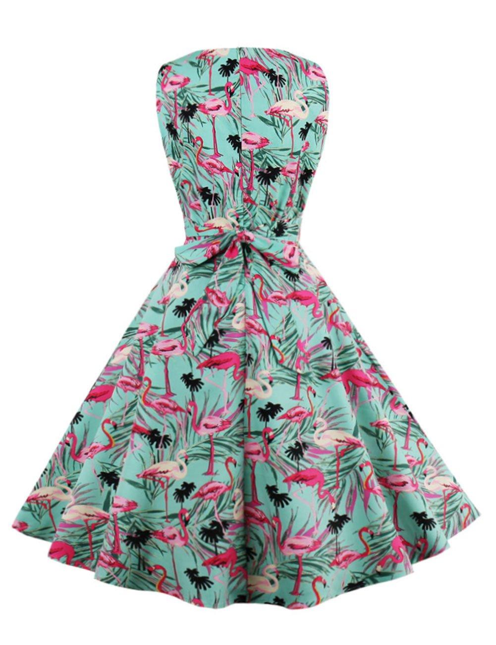 LaceLady BoatNeck Vintage Sleeveless Tea Dress with Belt Pleated ...