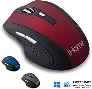 iHome Precision Wireless Desktop Mouse with Scroll Wheel, 2 Buttons, and Web Navigation (Mac and PC Compatible) (Red)
