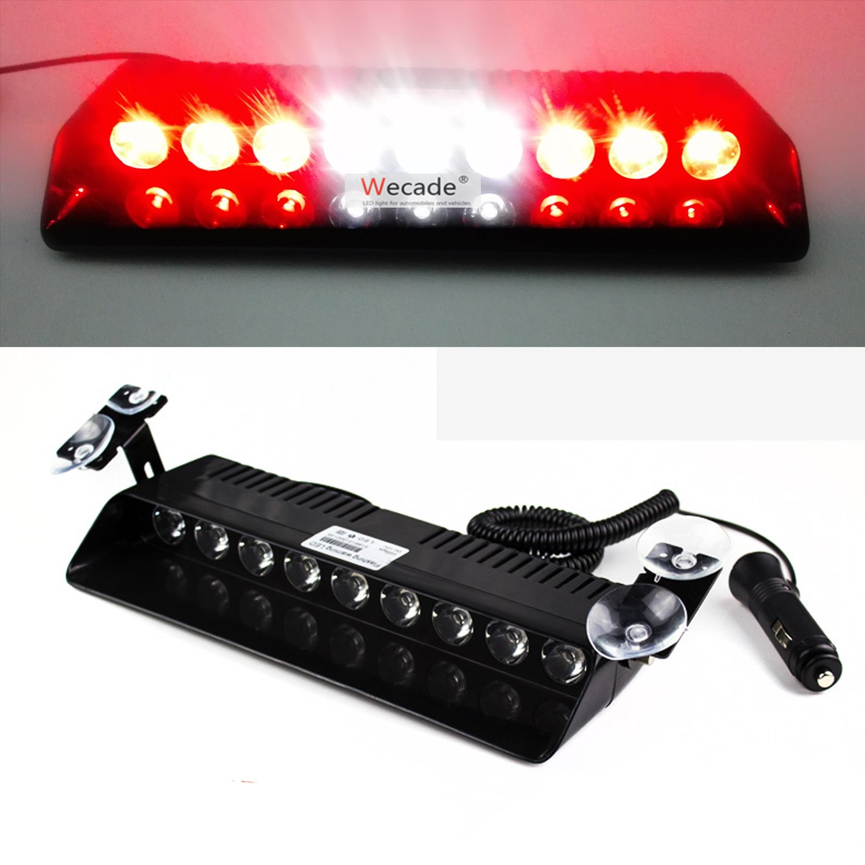 Green//White//Green Wecade/® 9 Led 9w Car Truck Strobe Windshield Dash Lights 16 Pattern Super Bright for EMS Law Enforcement Warning LED Strobe Lights
