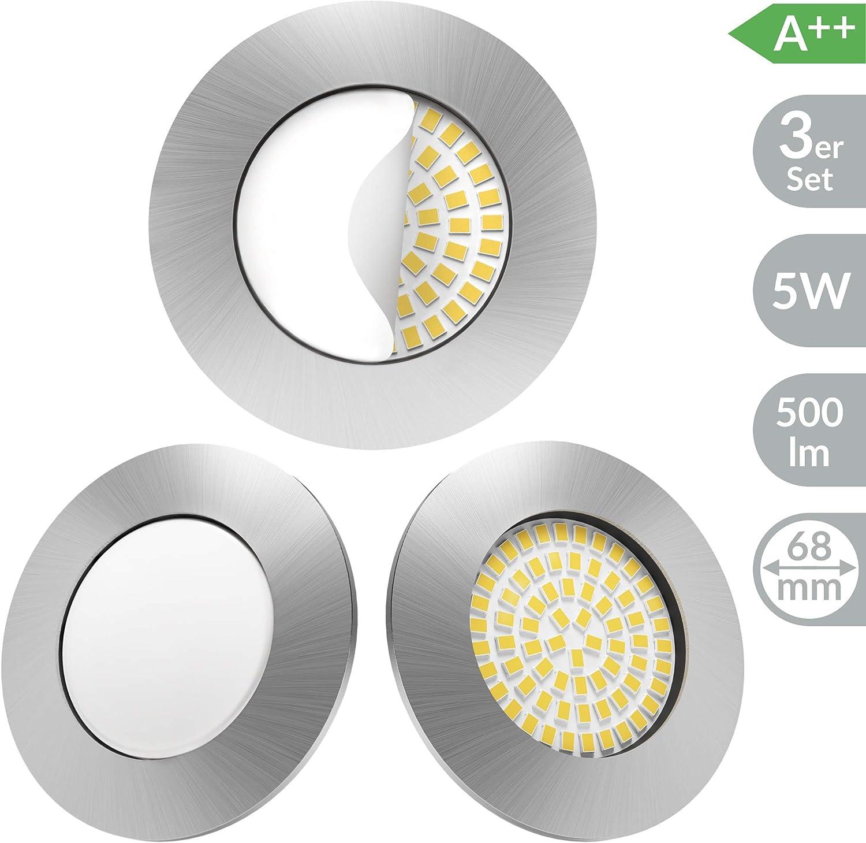Scandinavian home 3er Set LED Einbaustrahler | ultra flach Badezimmer geeignet | warmweiß 220 / 230V CRI 90 5W 500lm 3000K | Edelstahldesign mit Milchglas | LED Spot Deckeneinbauleuchte 60-68mm: Amazon.de: Beleuchtung - LED Spots