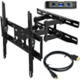 "Everstone TV Wall Mount Fit Most 23""-65"" TVs Dual Articulating Arm Full Motion Tilt Swivel Bracket 14"" Extension Arm,LED,LCD,OLED& Plasma Flat Screen TV,Curved TV,Up to VESA 400mm,HDMI Cable"