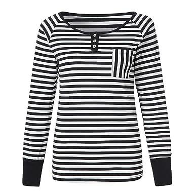 3849414eb755b0 HWTOP T-Shirt Spitzenbluse Damen Elegant Oberteil Langarmshirt Hemd Bluse  Streifen Pullover Drucken Sweatshirt O-Ausschnitt Tops Frauen Lose Oben  Sommer ...