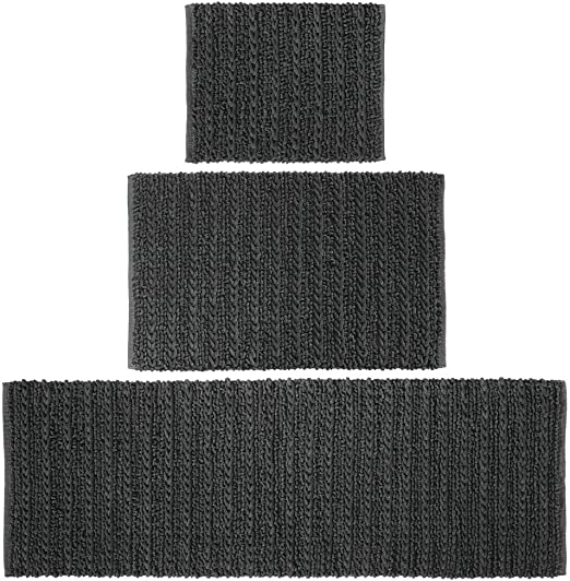 Black Set of 3 Braided Design mDesign 100/% Cotton Luxury Rectangular Spa Mat Rugs Runner for Bathroom Vanity Standard /& Small Rug Plush Water Absorbent Bathtub//Shower Machine Washable