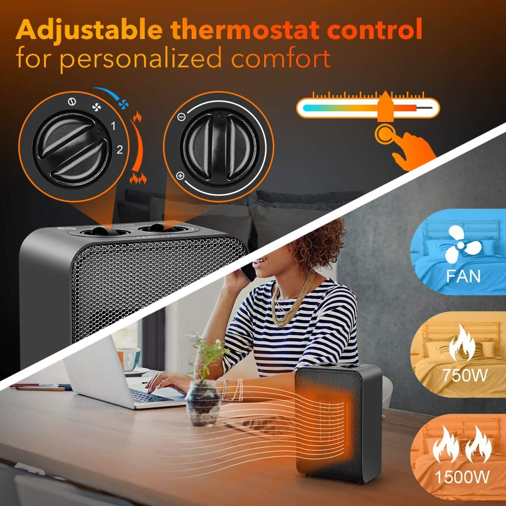 Indoor 750W//1500W Ceramic Electric Heater for Home//Office//Bedroom and Bathroom with Adjustable Thermostat Portable Space Heater Personal Desk Heater