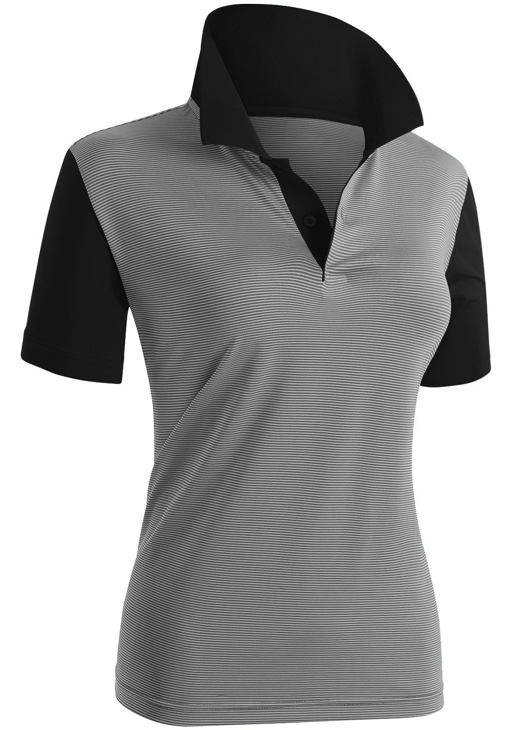 CLOVERY Women's Casual Basic Short Sleeve Basic Polo Shirts Black US L/Tag L by CLOVERY