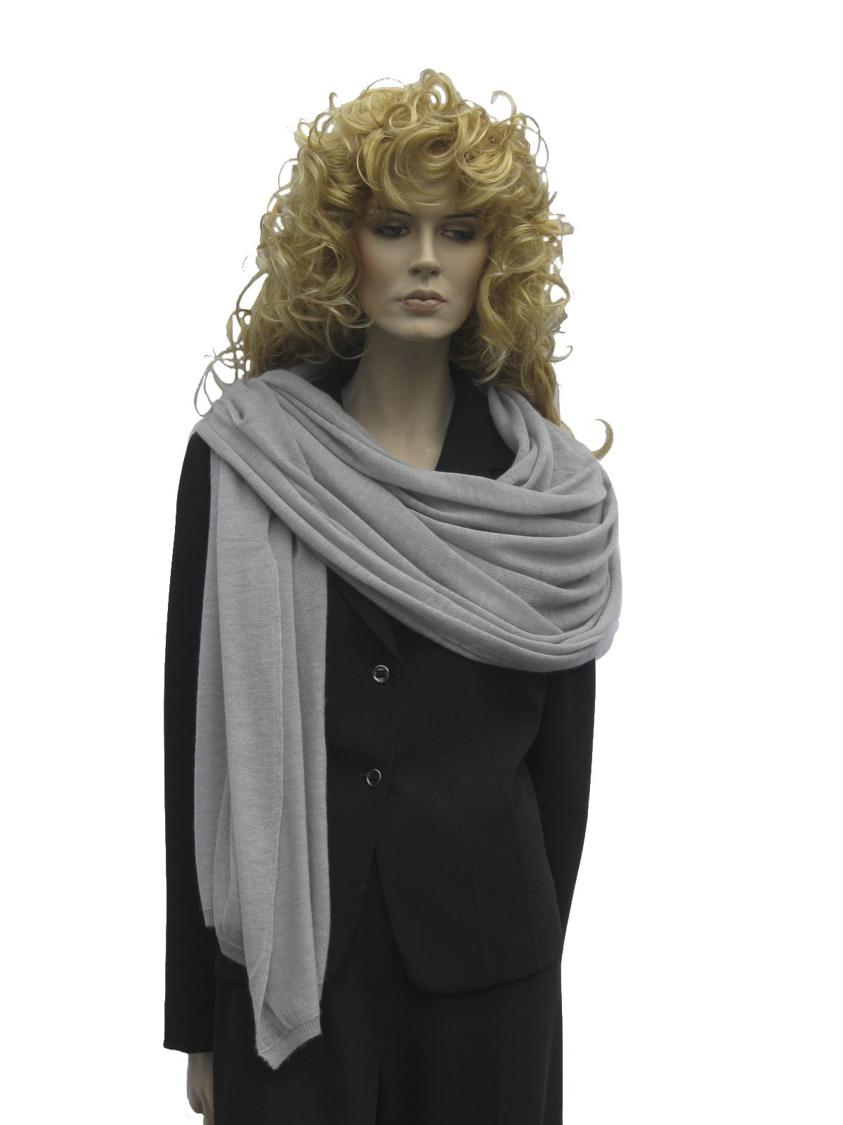 CASHMERE SWEATER KNIT SCARF - SHAWL - WRAP – STOLE (SILVER GREY)