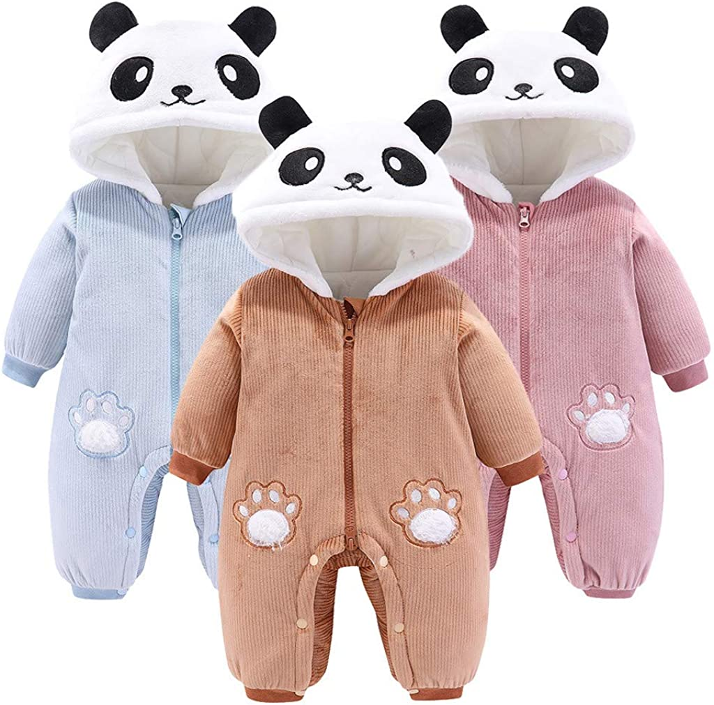 Ts99-kWm/_Baby Coat Newborn Infant Baby Boys Girls Long Sleeve Cartoon Fleece Hooded Romper Jumpsuit