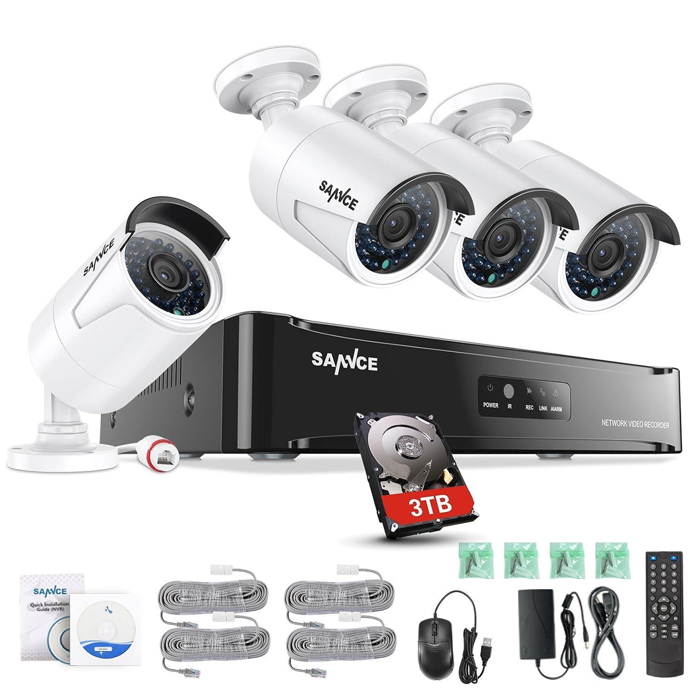 SANNCE 4CH 1080P HD PoE NVR Syst/ème de Cam/éra de Surveillance 4 POE IP Cam/éra de S/écurit/é Int/érieur//Ext/érieur Etanche 2.0 Megapixels Acc/ès /à Distance Via Smartphone//PC
