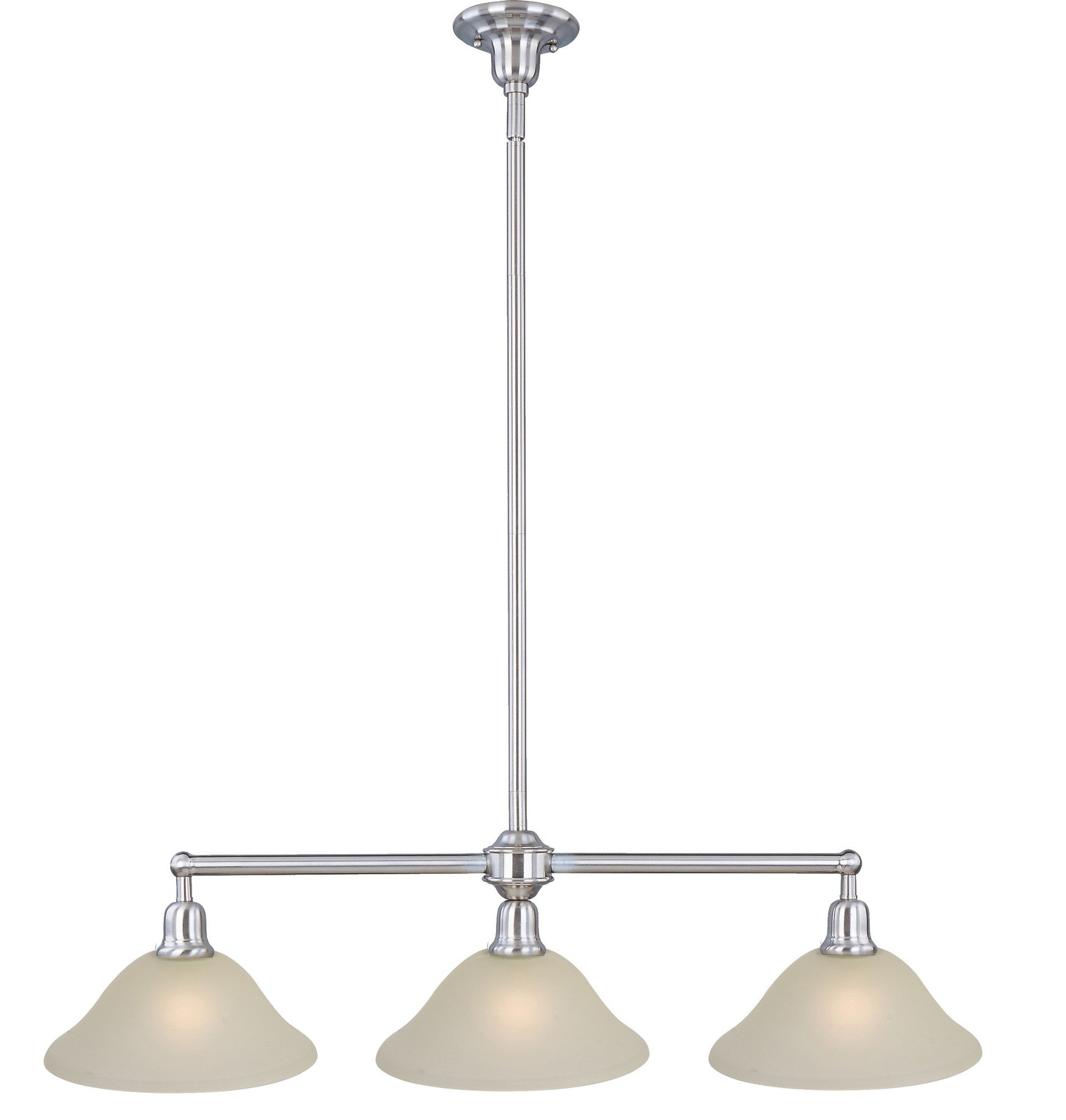 Maxim 11093SVSN Bel Air 3-Light Pendant, Satin Nickel Finish, Soft Vanilla Glass, MB Incandescent Incandescent Bulb , 12W Max., Damp Safety Rating, 3000K Color Temp, Opal Acrylic Shade Material, 700 Rated Lumens