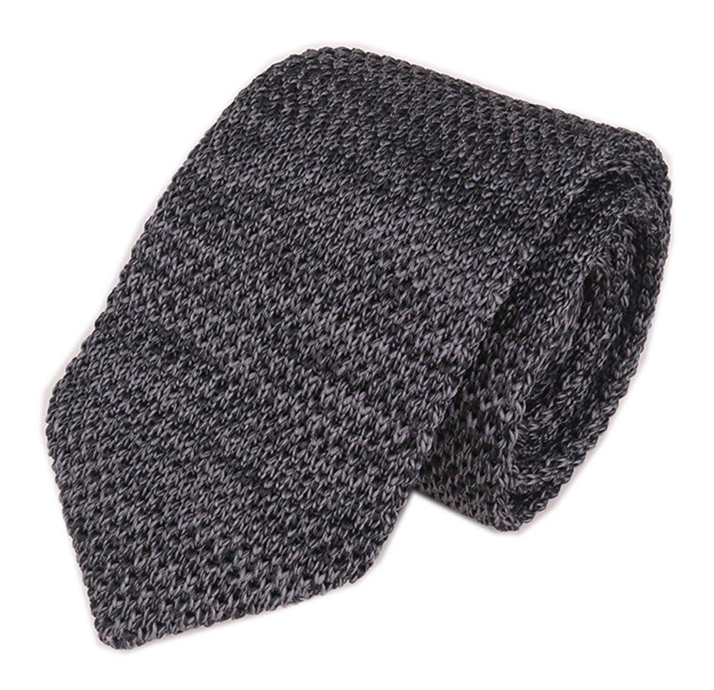 Mens Knit Dark Grey Coal Ties Modern Basic Designed Groomsmen Wedding Neckties