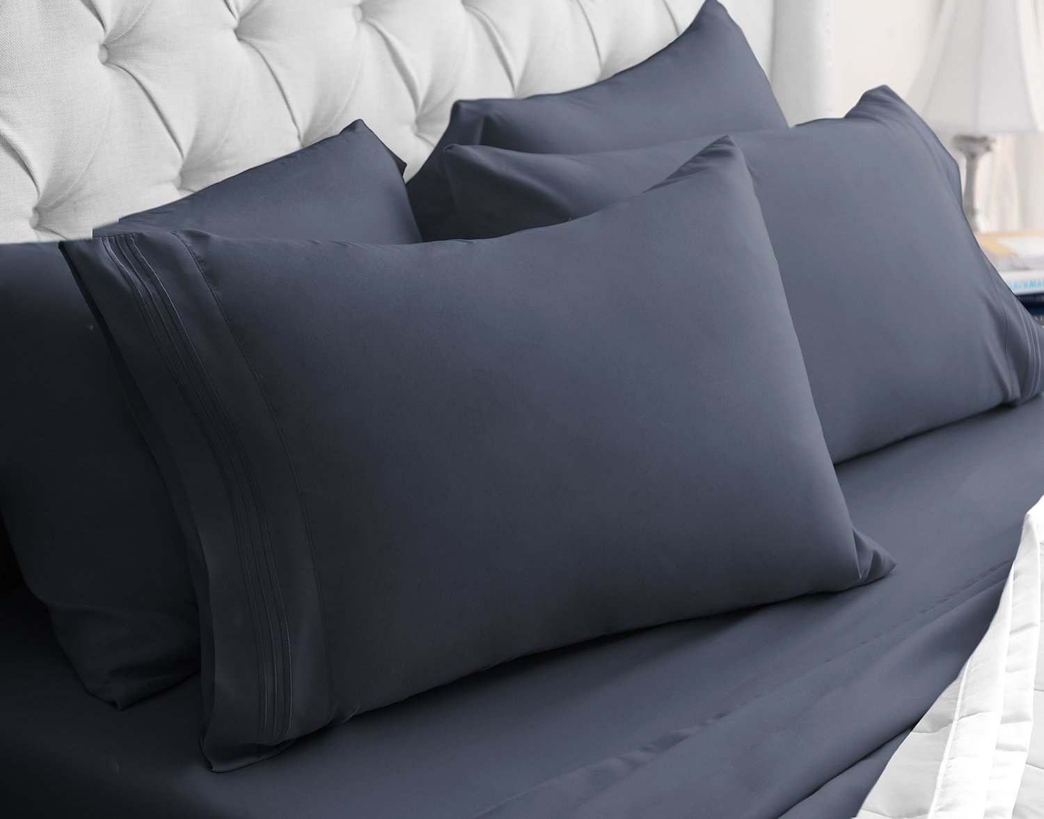 Luxor Linens - 6-Piece Sheet Set - Hotel Quality Giovanni Collection Egyptian Comfort Sheet Set - Queen - Charcoal