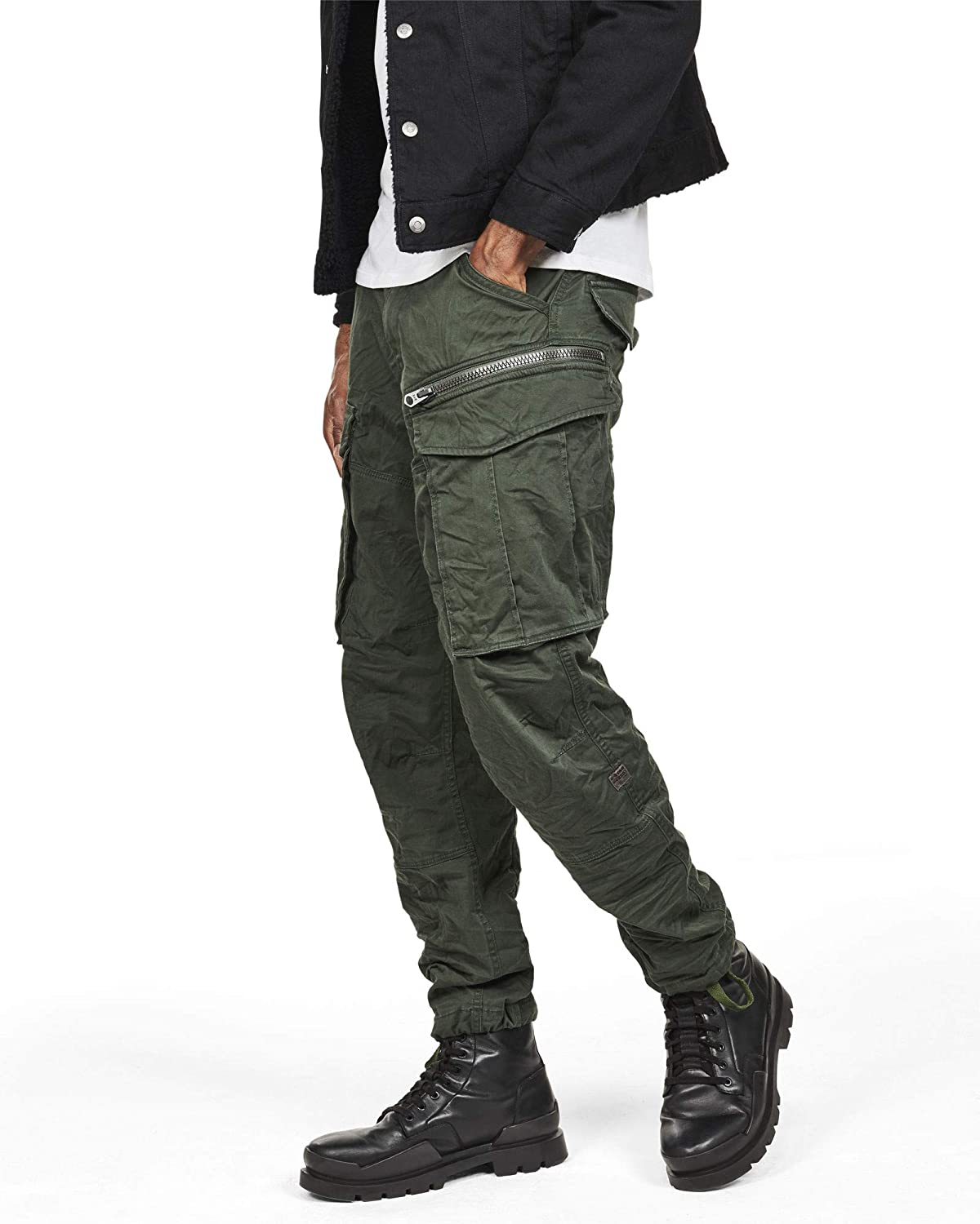 e790b661284 G-STAR RAW Men's Rovic Zip 3D Straight Tapered Pants Trouser, Green (dk  vermont green 7179), W31/L32: Amazon.co.uk: Clothing