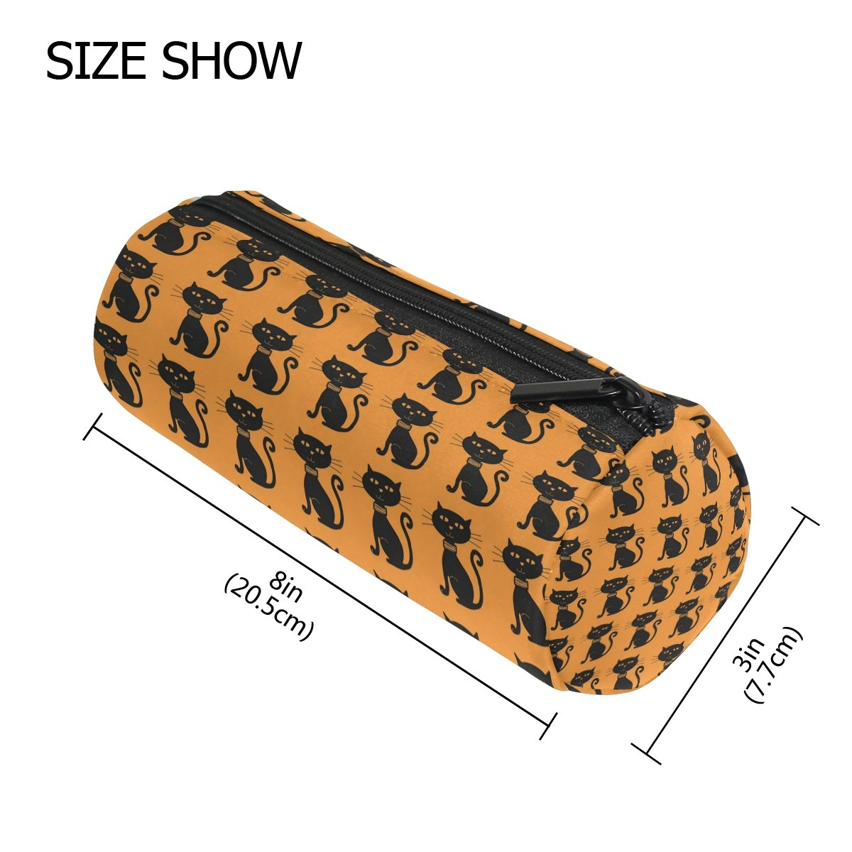 COOSUN - Estuche de gatos egipcios con forma de cilindro, bolsa de papelería, bolsa de maquillaje, color Halloween Black Cats Pattern Medium: Amazon.es: ...