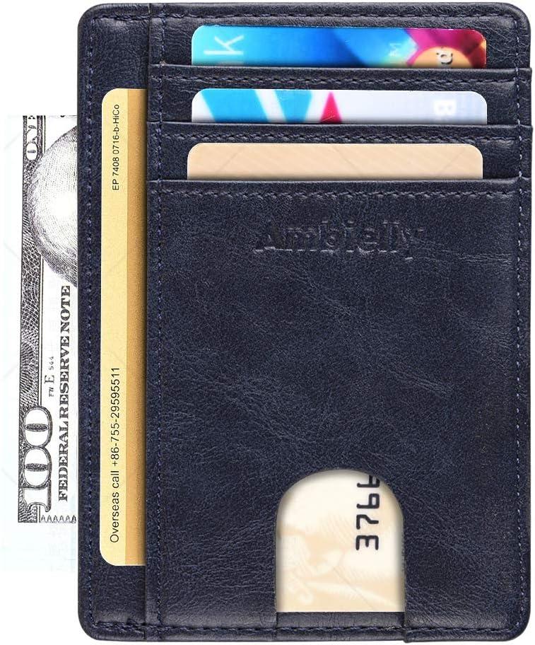 Ambielly Magnético Billetera Genuino Delgado Cuero Bloqueo RFID Billetera Minimalista Crédito Tarjeta Poseedor de los Hombres Novedad CARNÉ DE Identidad Frente Bolsillo Billetera (Blue)