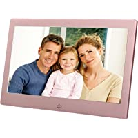 Discoball - 10 inch Digital Photo Frame [ HD 720p LED Display | 16:9 Widescreen ] (Metal Bezel - Rose Gold)