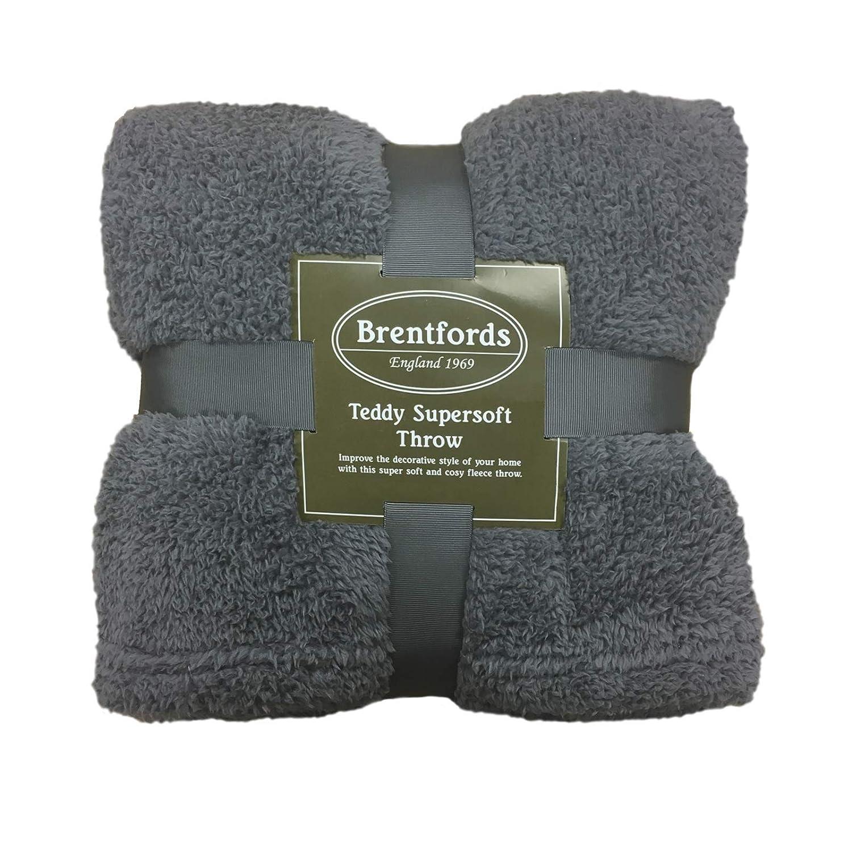 Blush Pink Brentfords Teddy Fleece Blanket Large Throw Over Bed Plush Super Soft Warm Sofa Bedspread 125 x 150 cm
