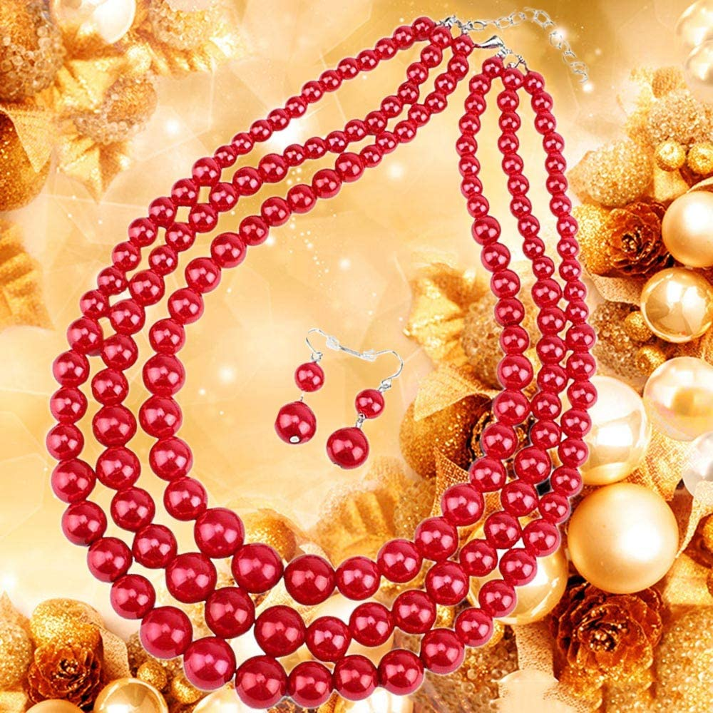 7 COLOR WINGS Womens Simulated Faux Three Multi-Strand Pearl Statement Necklace and Earrings Set