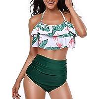Yuson Girl Mujer Conjunto De Frill Bikini Tiras Talle Alto Tallas Grandes Sexy Traje De Baño Cuello Halter Vintage…