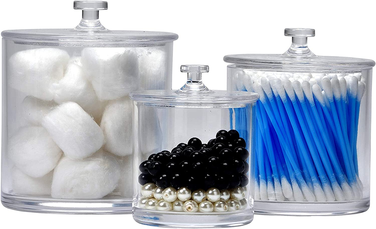 Easyway Multifunctional Acrylic Jars – Plastic Jars – Great Home Decor Pieces – Apothecary Jars Large – Apothecary Jars Bathroom – Bath Bomb Holder (Pack of Three)