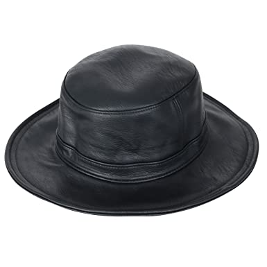 29481a71daa24 ililily Soft Faux Leather Wide Brim Fedora Flat Pork Pie Vintage Bowler Hat