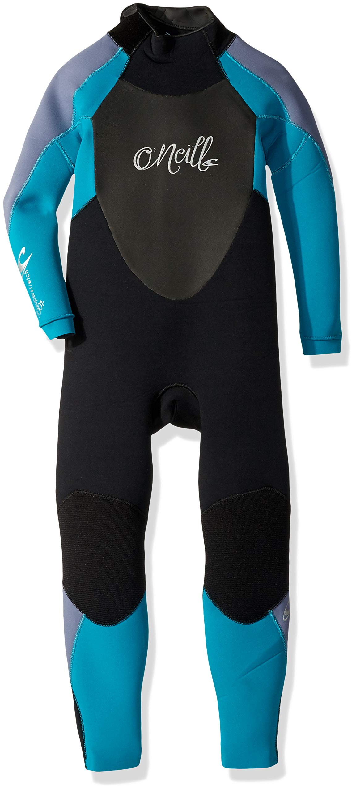 O'Neill Youth Epic 3/2mm Back Zip Full Wetsuit, Black/Capribrz/Mist, 4