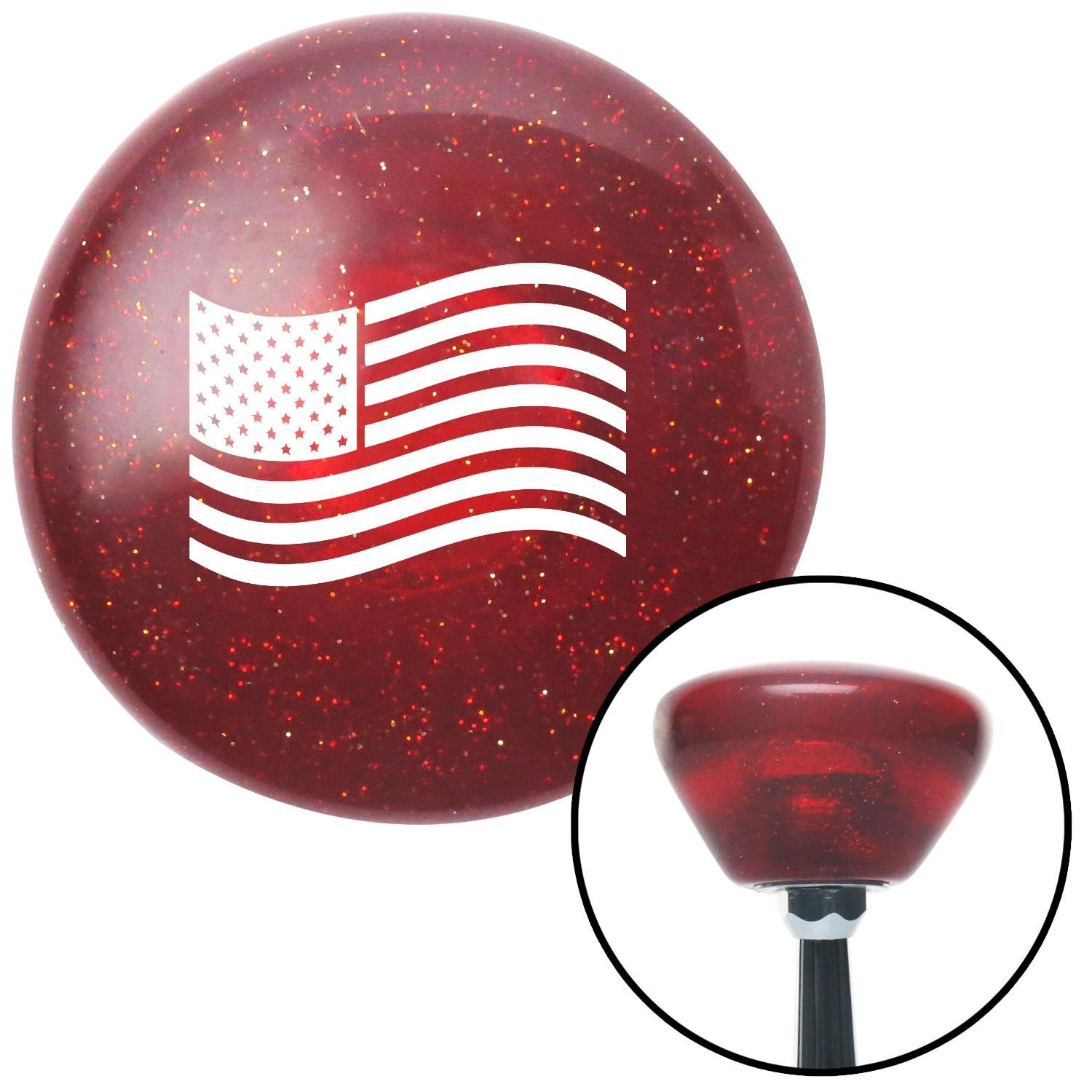 White US Flag American Shifter 193145 Red Retro Metal Flake Shift Knob with M16 x 1.5 Insert