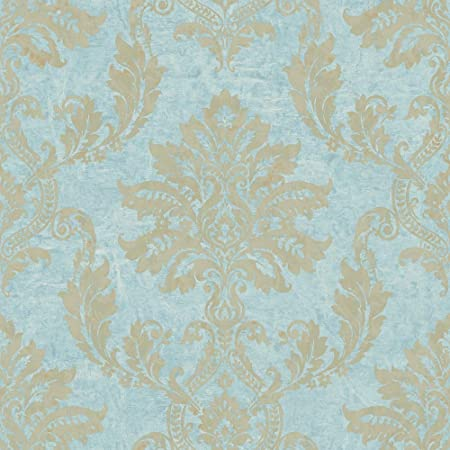 Pc 2507 Persian Chic Aqua Blue Gold Damask Glitter Galerie