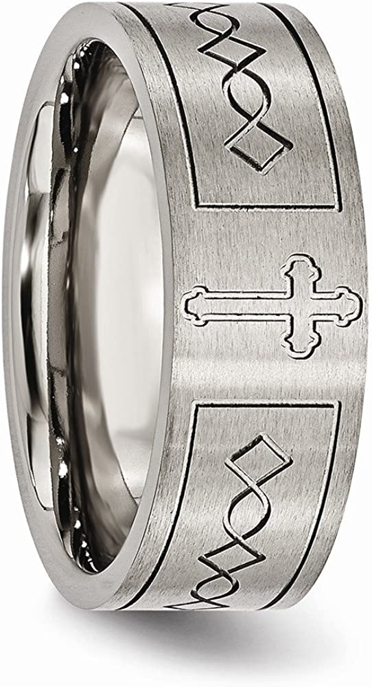 Wedding Bands Religious Bands Titanium Cross Design Flat 8mm Brushed Band Size 9