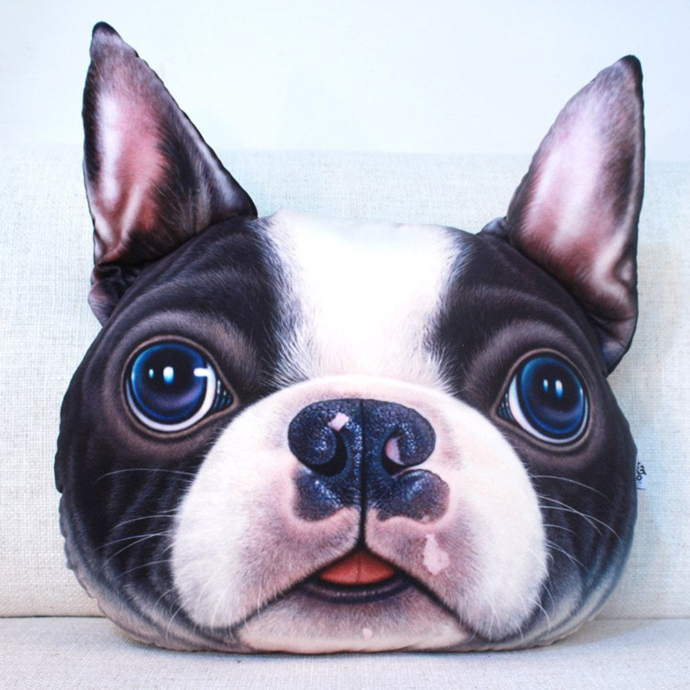 COJOY 3D Cute Animals French Bulldog Pet Dog Auto Headrest Pillow Three-Dimensional Head Restraints of Automobile Seat Large Size