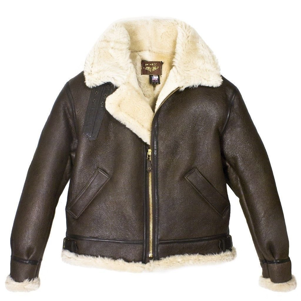 Premium Leather Products Men's B3 Brown Bomber WW2 Bomber Pilot Real Fur Shearling Real Leather B-1 Bomber B2 Bomber Winter Warm Waterprrof Jacket (3XL) by Premium Leather Products