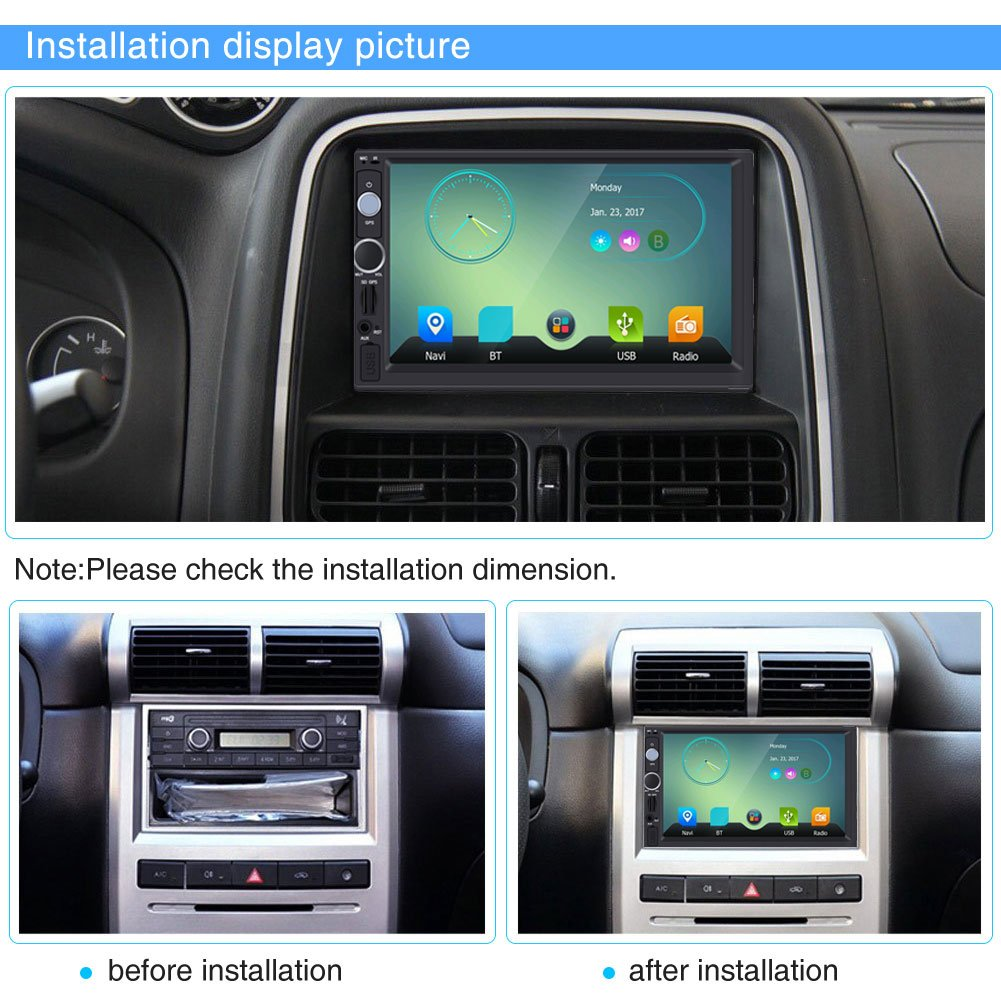 Qiilu 7 Pulgadas 2 DIN Reproductor Multimedia MP5 HD Pantalla t/áctil Bluetooth GPS Est/éreo Radio FM//USB//AUX MP5 Player para Coche