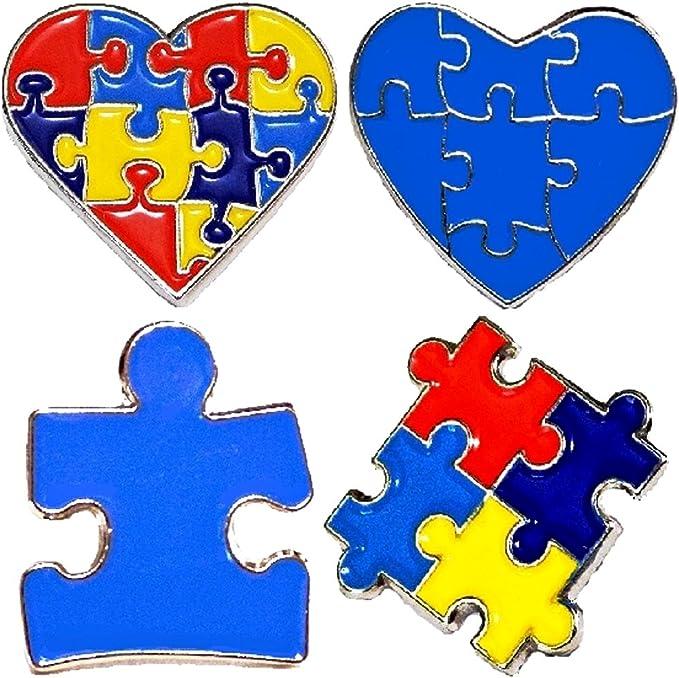 Amazon.com: 4 Piece Set Autism Awareness Heart Colorful ...