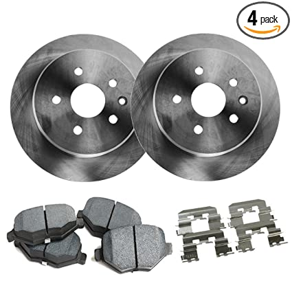 Detroit Axle - Front Disc Brake Rotors & Brake Pads w/Clips Hardware Kit Premium