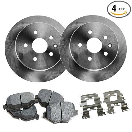Detroit Axle - Front Disc Brake Rotors & Brake Pads w/Clips Hardware Kit Premium