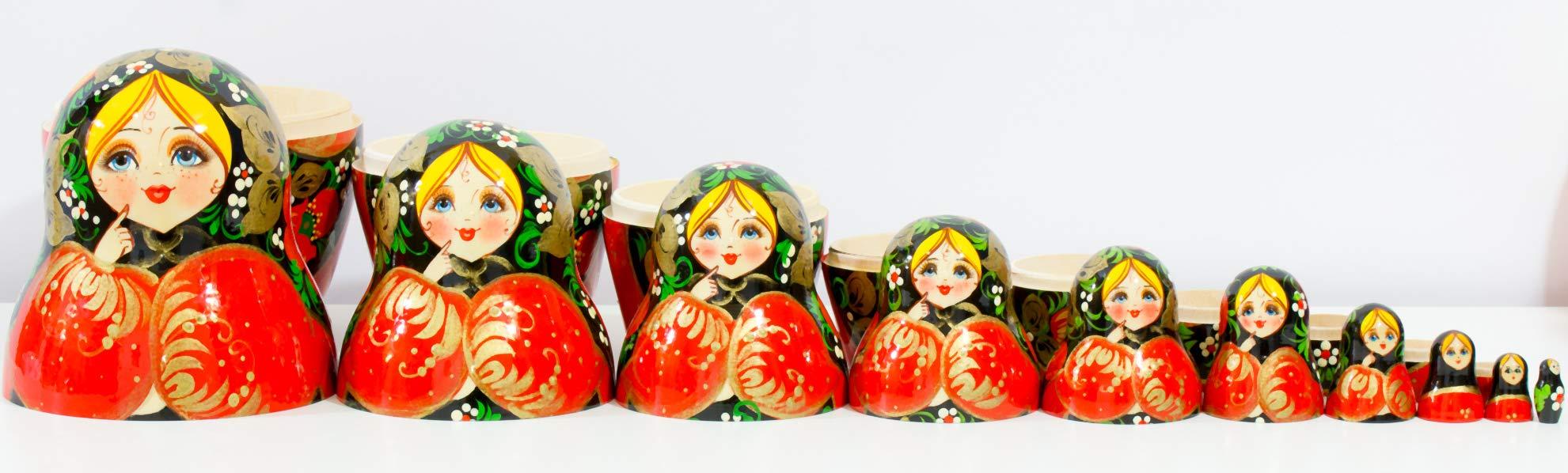 Russian Nesting Doll - Kirov - VJATKA - Hand Painted in Russia - Big Size - Wooden Decoration Gift Doll - Matryoshka Babushka (Style C, 8.25``(10 Dolls in 1)) by craftsfromrussia (Image #4)