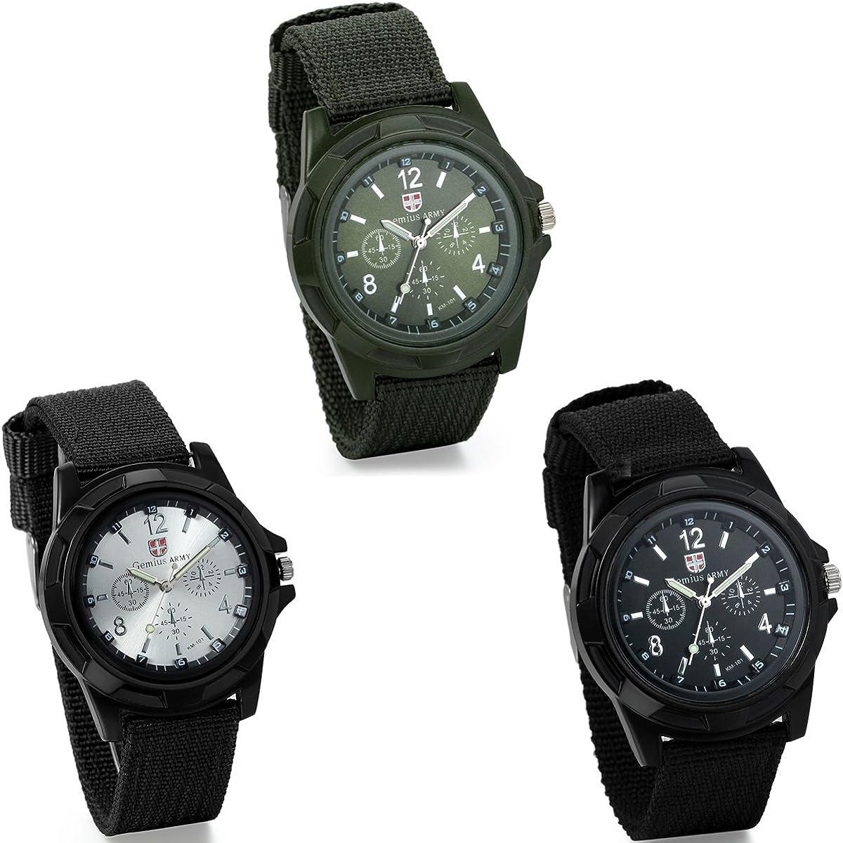 JewelryWe 3Piezas de Mens ejército Militar Estilo Piloto Aviador Deportes al Aire Libre Relojes Dial de Correa de Tela Lienzo Wrirstwatch (Armygreen)