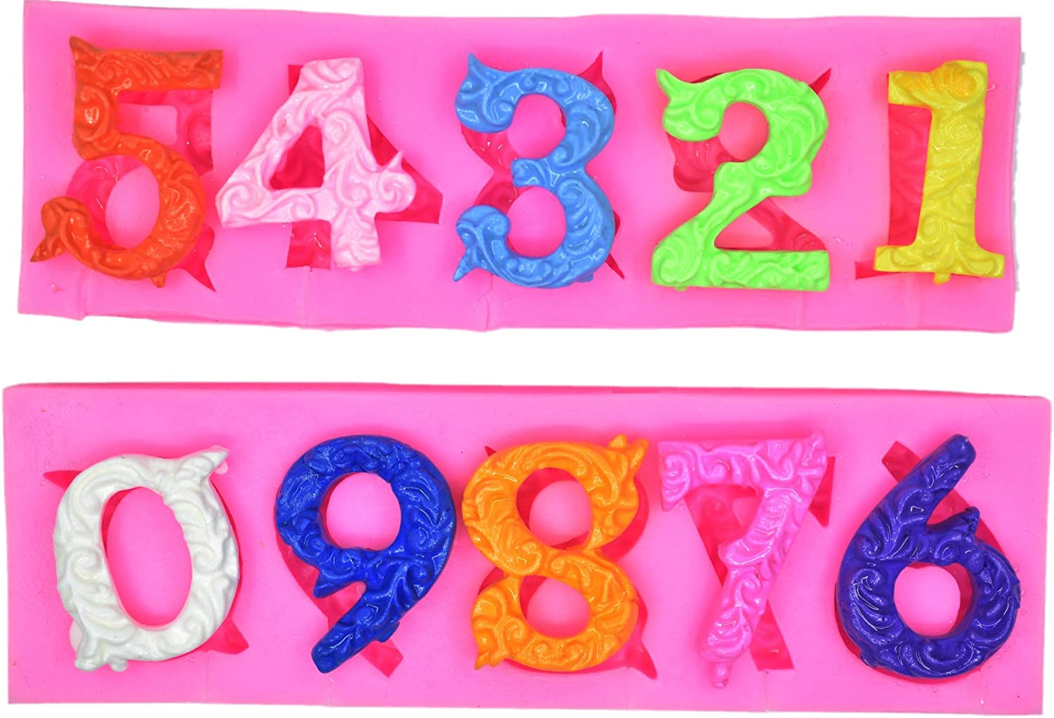 Alphabet Number 0-9 3d Silicone Mold Birthday Silicone Sugarcraft Mold Chocolate Fondant Candle Mold Cake Decoration for Baby Shower,Birthday Party,Anniversary
