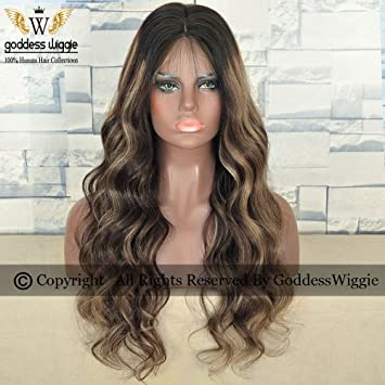 Balayage Human Hair Body Wavy Wigs With Baby Front Lace Highlight For Women