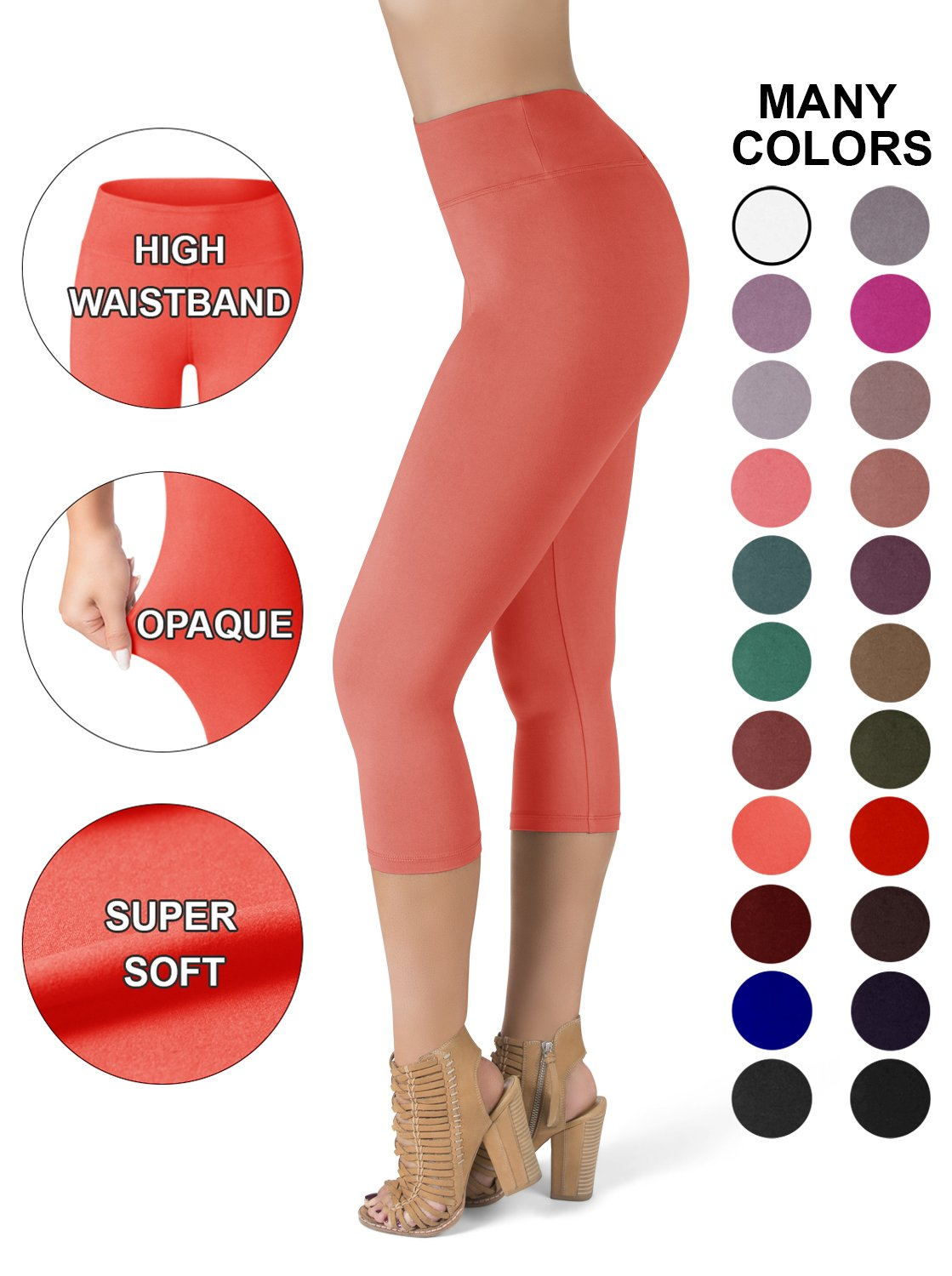 SATINA High Waisted Super Soft Capri Leggings - 20 Colors - Reg & Plus Size (One Size, Neon Coral)