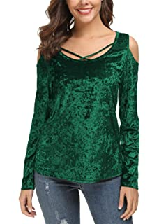 538b1546090be DGMYG Womens Velvet Cold Shoulder Pullover Tunic Tops Long Sleeve Loose Shirts  Blouse