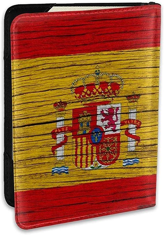 España Textura de Madera Bandera española Moda Personalizada Funda de Cuero Pasaporte Funda Fundas Cartera de Viaje: Amazon.es: Equipaje