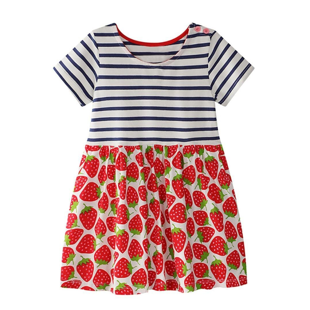 Hot Sale Toddler Baby Kid Girl Cotton Blended Short Sleeve Floral Pattern Dress Sundress Outfit Clothes (Red, 6T)