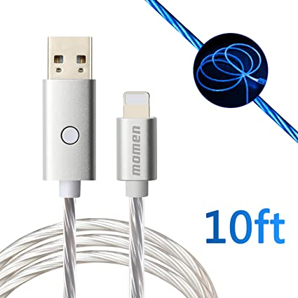 Fast Charge Cable 10ft, USB Charging Cable Compatible fo Phone X/8/8 Plus/7 Plus/7/6s Plus/6s/6 Plus/6/5s/5c/5/Pad/Pod, momen Visible Flowing LED ...