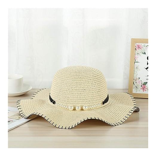 29854405 Women Big Wide Brim Straw Hat Pearl Decoration Beach Sun Foldable Cap Hats  Beige at Amazon Women's Clothing store: