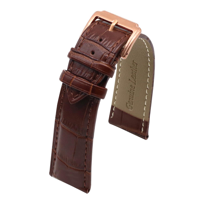 autuletクラシックレザーダークブラウンブレスレット時計バンドローズゴールドバックル 15 15   B07C7JPMSZ
