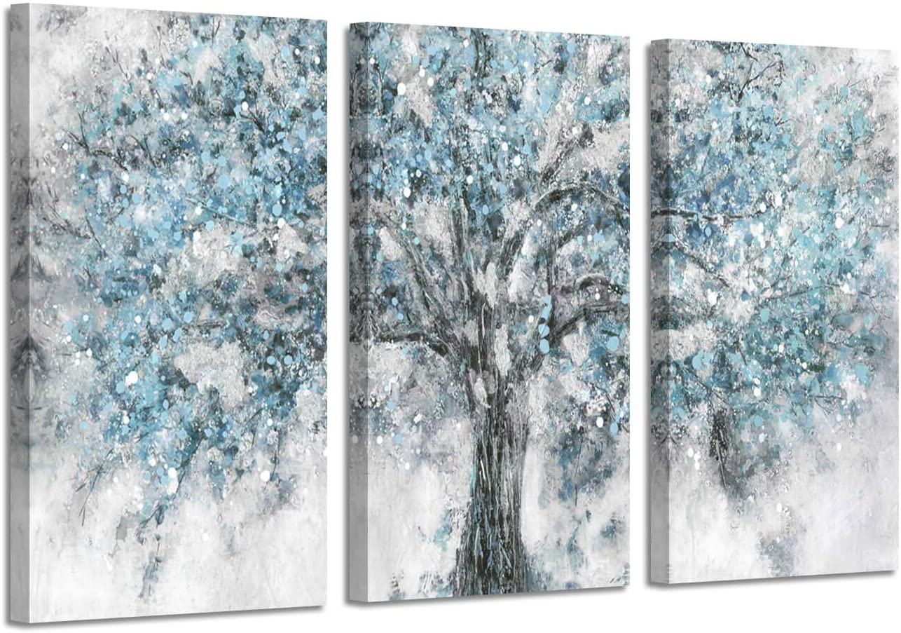 Abstract Tree Artwork Wall Art: Blue Painting Hand Painted Picture on Canvas for Living Room (26'' x 16'' x 3 Panels)