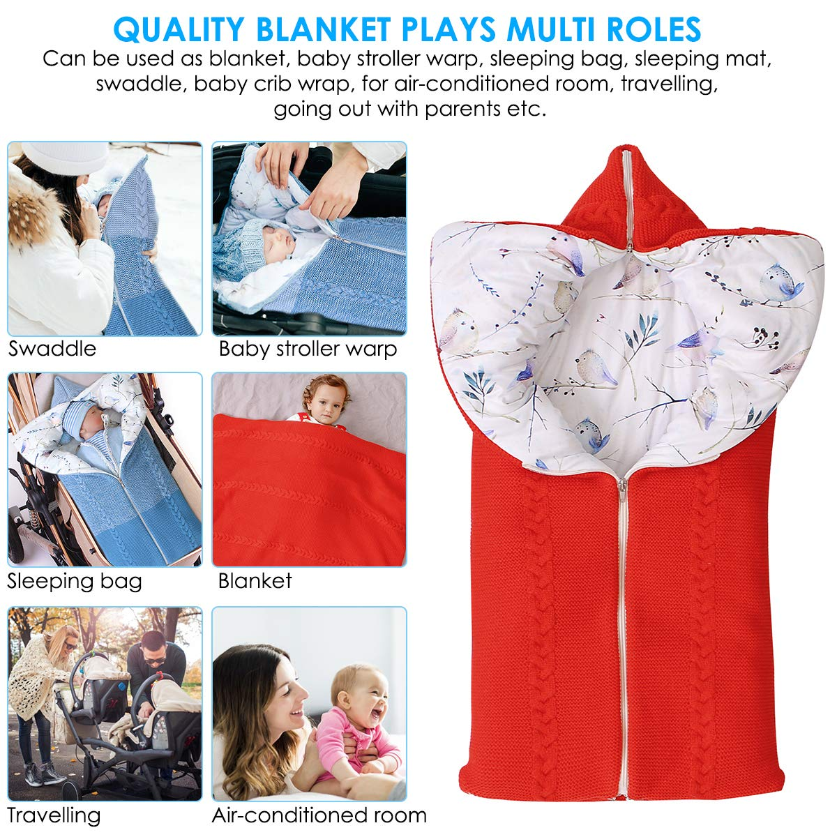 Drizzle Baby Swaddle Blanket Indoor Outdoor Flannel Anti Kick Baby Sleeping Bag Sack Waterproof Warm for Infant Newborn Boys Girls 0-36 Months Wearable Blanket Baby Quilt Pink