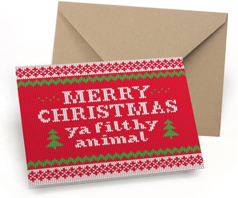 Merry Christmas Ya Filthy Animal: Funny Christmas Cards Box Set - 12 Christmas Sweater Boxed Holiday Cards with Kraft Envelopes - For Kids, Teens & Adults - Made in the USA By Palmer Street Press